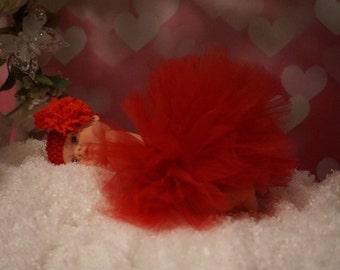 Red TuTu with Matching Headband Newborn Photo Prop