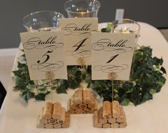 Set of 3 Cork Table Number Holders - Pyramid Style