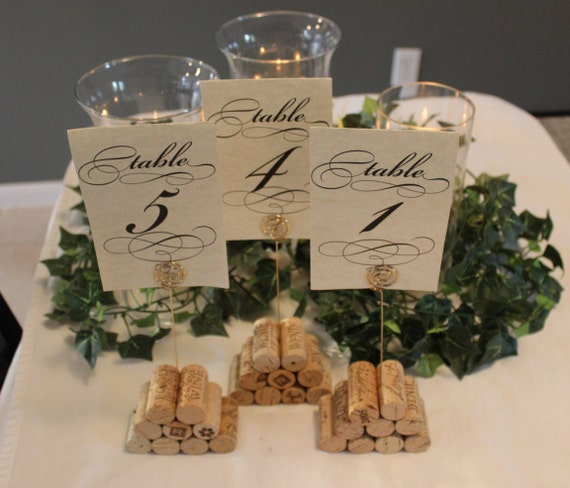Wine Cork Table Numbers: Set Of 3 Cork Table Number Holders Pyramid Style