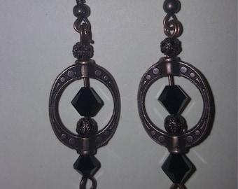 Bronze and Swarovski Crystal Earrings