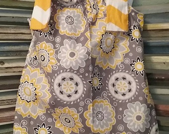 Gray and yellow floral summer dress, size 12 months, Girl's dress, #13.