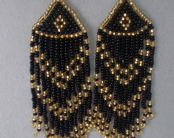 Bead earrings Black with gold  Native American Handmade of Czech beads