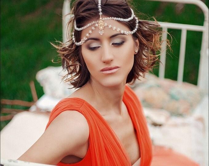 Maang Tikka Headpiece, Bridal Head chain Jewelry, Bohemian Forehead, Wedding Headband, Indian matha patti Boho Gatsby 1920s Lolita Goth