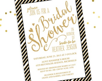 Gold Black Bridal Shower Invitation - Black and Gold Glitter - DIY Printable Digital File (Printing also available)
