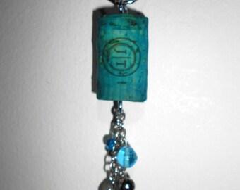 Funky steampunk cork keychain