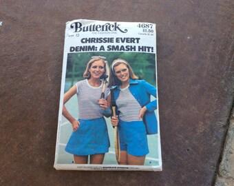 Butterick 4687 Chrissie Evert Tennis Outfit Pattern Size 12 Uncut