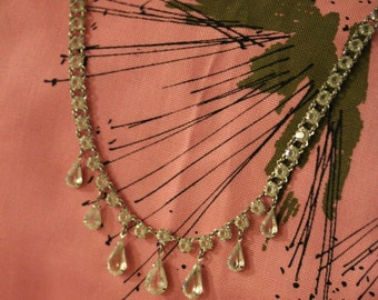Unfoiled Crystal Rhinestone Necklace & Bracelet Demi Parure, 1950s-1960s, Vintage Bridal Set