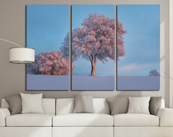 Large Wall Frozen Trees Canvas Color Seasons Multipanel Canvas Snow Art Large Nature 1-3-4-5 Panel Winter