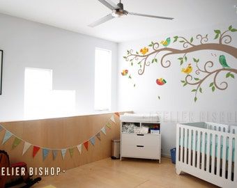 Half curly tree with colorful birds wall decal removable wall wall sticker for nursery bedroom playroom
