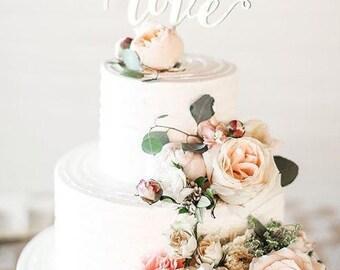 Wedding Cake Topper Love.Gold Cake Topper.