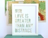 Long Distance Relationship Gift, Military Deployment Separation Gift, Moving Away, Map Art, Custom Maps Available