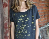 Gold Flock Loose Tee, Graphic Shirt for Women, Hand Screen Printed