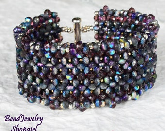 Purple is Forever Etched in my Heart Bracelet - beadwoven cuff with a LOT of texture!