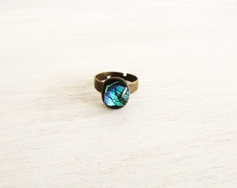 Black Blue Green Dichroic Glass Copper Ring Adjustable Ring #R11