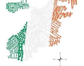 Boston Neighborhood Map with Irish Flag 11x14in Print