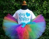 "Rainbow Big Sister Heart Top, Custom Shirt & Tutu Set, Hot Pink Orange Green Turquoise Blue Purple 8"" Extra Full Tutu Skirt for Babies Girls"