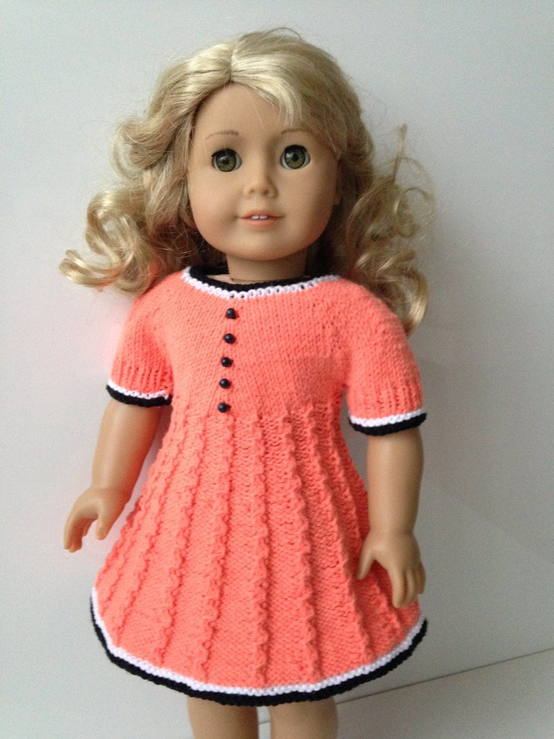 Knitting Pattern Doll Dress : Delia Knitting Pattern for 18 inch doll dress 061 by KNITnPLAY