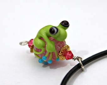 Marley the Lime Green Handmade Glass Frog Bead Pendant on Pink Bead With Turquoise Toes on Black Leather Necklace