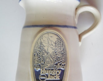 Vintage - Home & Living - Kitchen - Dining -Pitcher -  Advertising -  Pottery - Blue/White - Syrup Pitcher - Hungry Jack Pancakes