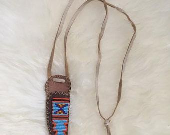 Vintage Beaded Knife Sheath Necklace.
