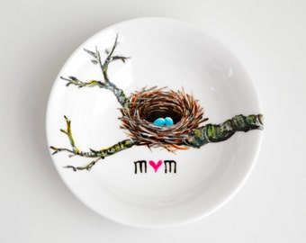 Birds Nest Jewelry Dish - Personalized Jewelry Bowl, Mothers Day, Ring Dish, Mothers Day Gift, Baby Shower Gift, Free Shipping, BlueBird egg