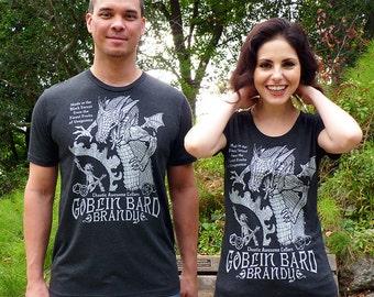Geek Couples Shirt Set, Gamer Tshirts, DnD Dice, D20, RPG, Couples Gift, Gamer Gifts, Anniversary Gift - Goblin Bard Brandy T-shirt Set