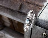 Blue November // Blue Topaz Saddle Ring, Armor Ring, Sterling Metalsmith welded by BellaLili