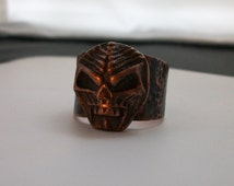 Copper vampire skull ring handcrafted metalwork size 11 US-mens jewelry -  copper ring - copper jewelry - gothic jewelry