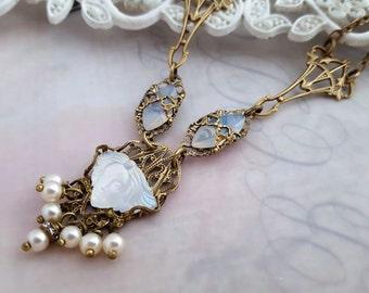 Femme Art Nouveau necklace,  Art Nouveau jewelry, Lalique inspired, Feminine art glass jewelry, Deco antique bronze necklace, Belle Epoque