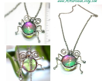 Glass Ladybug Pendant Lady Bug Necklace Love Bug Jewelry Gift for Gardening Friend Pink Green Flash Stainless Steel Unique Handmade Jewelry