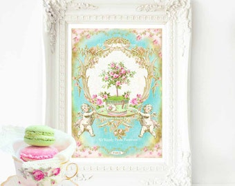 French vintage decor, print, baroque, kitchen decor, wall art, pink rose, Marie Antoinette, home decor, cherub, High tea, French Patisserie