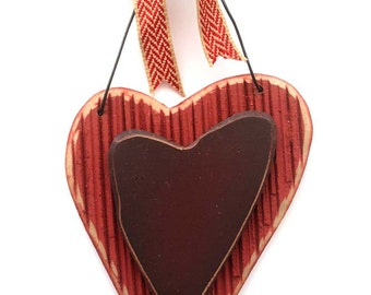 Wooden Heart Valentine Decoration, Wood heart, Wall hanging, rustic heart,chevron burlap bowfor her, party decoration, party favor, weddings