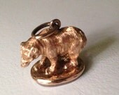 Reserved - 14K Rose Gold Figural Bear Banded Agate Seal Fob - Pendant - Charm