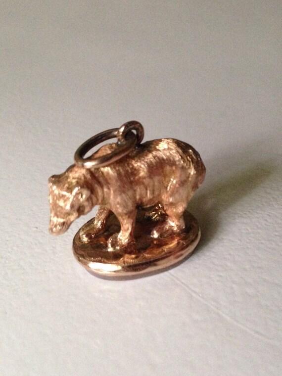 14K Rose Gold Figural Bear Banded Agate Seal Fob - Pendant - Charm