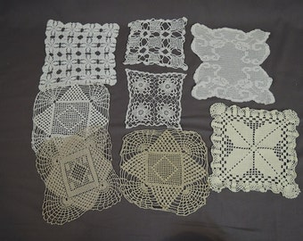 8 Vintage Crochet Doilies, Square 7 to 11 inches,  1940s Handmade Linen Lot