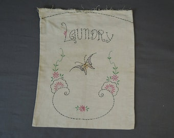 Vintage 1940s Embroidered Laundry bag, 19 x 15 inches, Butterfly & Flowers, Vintage 1940s Novelty Embroidery