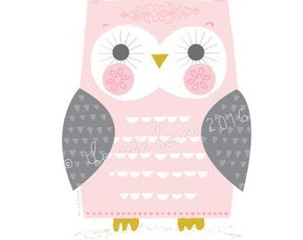 OWL PRINT, Illustration, A4 wall art, pink owl design, nursery room decor, nursery owl, kids, girl, art prints, woodland, pink and grey