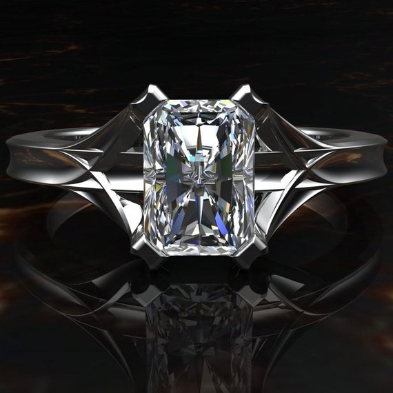 engagement ring emerald cut 1 carat architectural