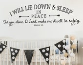 Childrens Wall Decal - I will lie down and sleep in peace Wall Decal - Psalm 4:8 - Nursery Wall Decor - Scripture Verse Decal - Arrows Decal