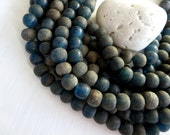 blue round lampwork glass bead, matte translucent dark blue tone , rustic gritty textured aged finish , indonesia 10 x 12 mm / 10 pcs - 5A45