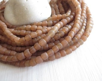 matte brown seed beads Small glass beads rustic matte translucent  spacer barrel tube , New Indo-pacific  - 4 to 6 mm  / 22 inches- 6a14-8