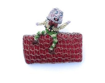 Humpty Dumpty brooch - nursery rhyme jewelry, crochet wire brooch, wearable art, sculpture brooch, wire art, funny brooch, art jewelry