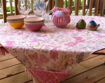 Pink Picnic Cloth - All Cotton - Pictured on Crate & Barrel Table in a Bag - Reversible - Item #T0112