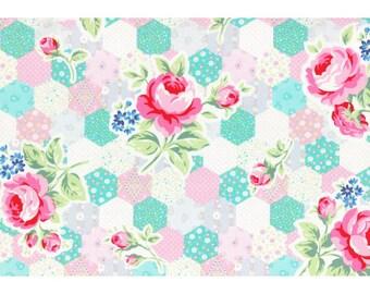 Flower Sugar Spring 2015 Fabric by Lecien - Patchwork Hexagon L31128-20 Pastel - 1/2 Yard or 1 Yard