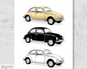 Black White Gold Digital Download Old VW Beetle Minimalist Bug Volkswagen Käfer Neutral Colours German Classic Cult Car 70s Office Wall Art