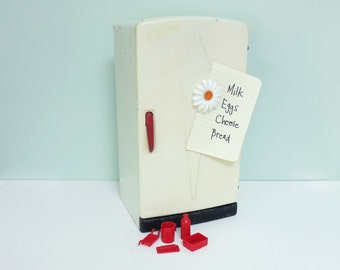 1950s Marx Toy Refrigerator, White with Red Metal Handle and 5 Original Red Plastic Accessories, Stocked with Lithographed Faux Groceries