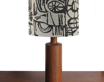 Hand screen printed linen lampshade with black Sketch (large) design