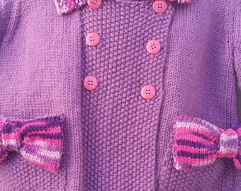 Hand Knit Double Breasted with pockets Coat, Medium Purple and multi purple contrast, size 2-3T