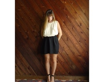 extra 25% off SALE ... Colorblock Mini Secretary Dress - Vintage 80s - M L - Sleeveless - Black and White