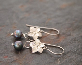 Orchid and Pearl Earrings